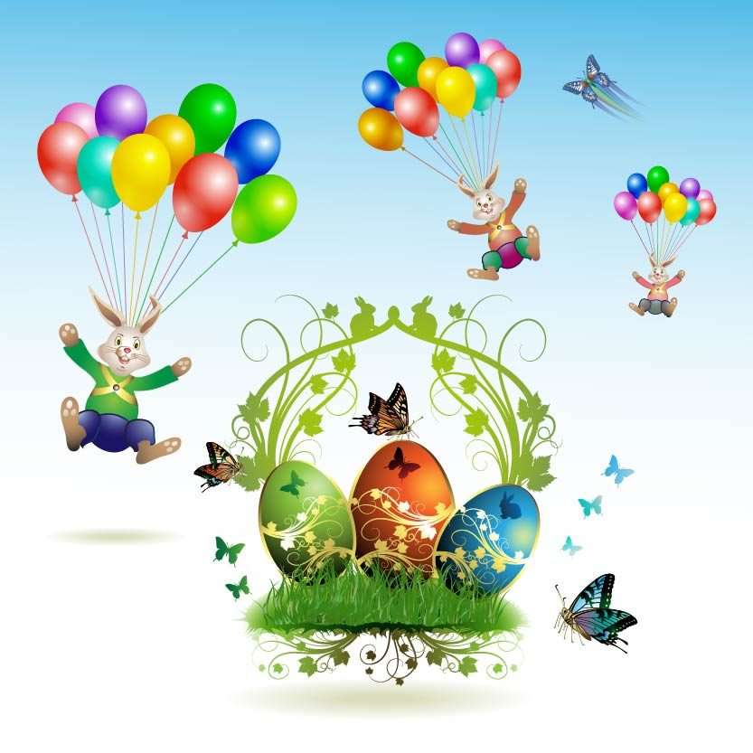 Easter-card-with-butterflies-and-decorated-eggs-on-gras
